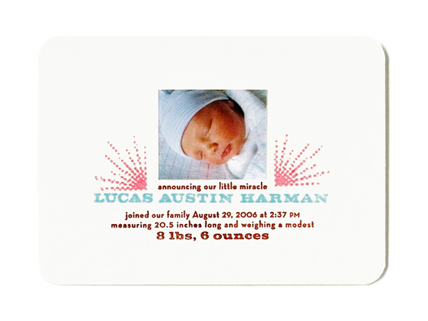 Lucas' Birth Announcement